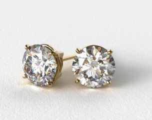18k Yellow Gold 1/4ctw Ladies Four Prong Round Brilliant Diamond Earrings