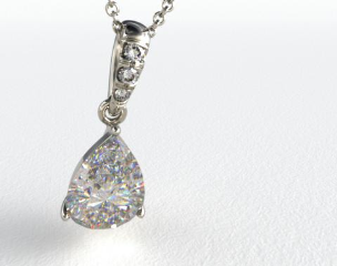 18k White Gold 0.25ct Pave Bail Diamond Pendant