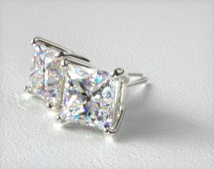18k White Gold Princess Cut Stud Earring Settings