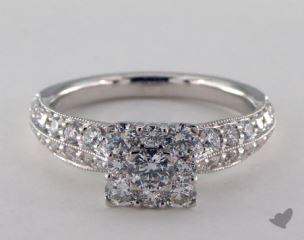 Platinum Royal Halo Princess Shape Pave Engagement Ring
