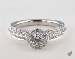 Platinum Royal HaloTwo Row Tapered Pave Engagement Ring