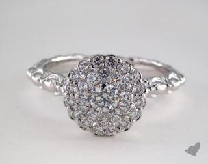 Platinum Royal Scallop Halo Diamond Engagement Ring