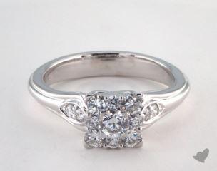 Platinum Royal Princess Shape Halo Open Heart  Engagement Ring