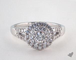 Platinum Royal Halo Split Shank Pave Engagement Ring