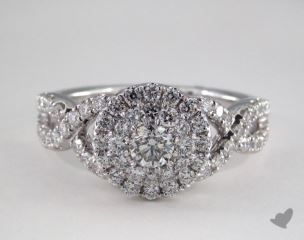 Platinum Royal Halo Double Row Crossover Engagement Ring
