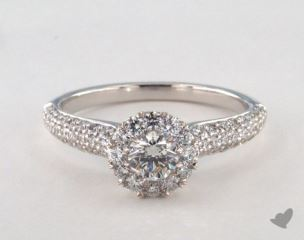 Platinum Royal Halo Three Row Pave Engagement Ring