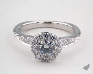 Platinum Royal Halo Pave Crown Engagement Ring