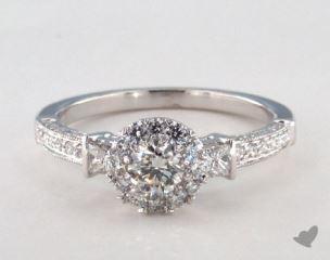 Platinum Royal Halo Princess and Pave Engagement Ring