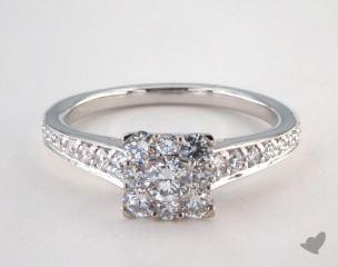 Platinum Royal Halo Inspired Princess Shape Engagement Ring
