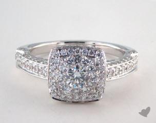 Platinum Royal Halo Rollover Cushion Shape Engagement Ring