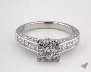 Platinum Royal Halo Engraved Channel Set Princess Engagement Ring