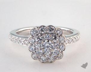 Platinum Royal Cushion Shape Scallop Halo Engagement Ring