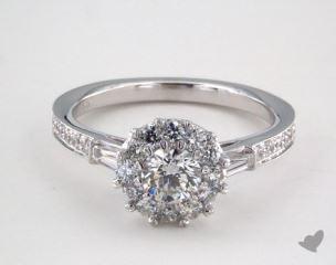 Platinum Royal Halo Tapered Baguette Engagement Ring
