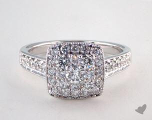Platinum Royal Halo Cushion Shape Classic Engagement Ring